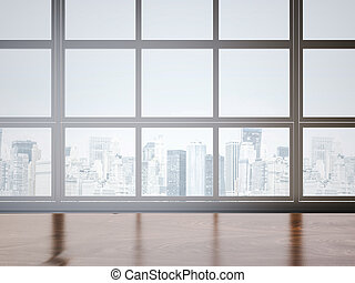 interpretazione, 3d, finestra., ufficio, tavola