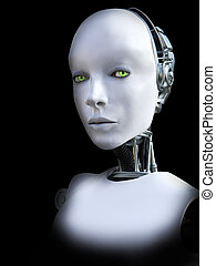 interpretazione, 3d, robot, femmina, head.