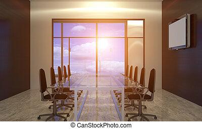 interpretazione, 3d, spazio ufficio
