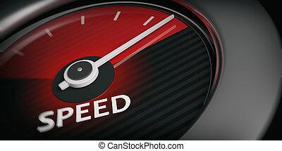 interpretazione, 3d, tachimetro, automobile