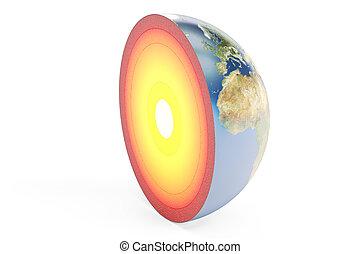 interpretazione, 3d, terra, struttura, pianeta