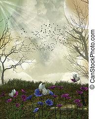 interpretazione,  3D, Uccelli, foresta, fantasia