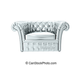 interpretazione, armchair., argento, 3d