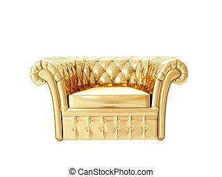 interpretazione, armchair., oro, 3d