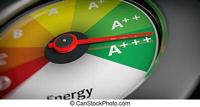 interpretazione, automobile, energia, efficienza, tachimetro, 3d