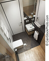interpretazione, bagno, moderno, interno, 3d