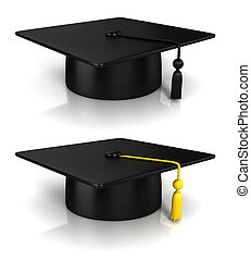 interpretazione, berretto, graduazione, 3d