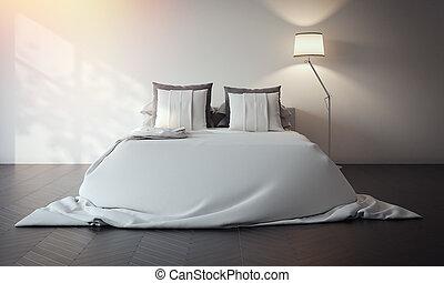 interpretazione, bianco, 3d, letto, interior.