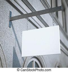 interpretazione, bianco, quadrato, signboard., 3d