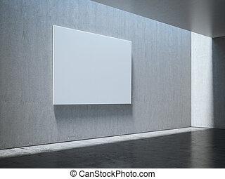 interpretazione, bianco, vuoto, canovaccio., 3d