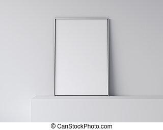 interpretazione, bianco, vuoto, poster., 3d
