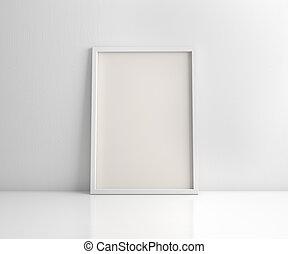 interpretazione, cornice, 3d, bianco, pavimento