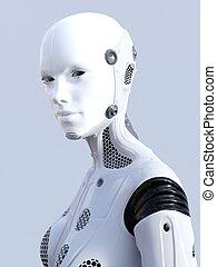 interpretazione, face., robot, femmina, 3d