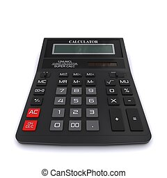 interpretazione, nero, calculator., ufficio, 3d