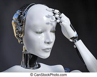 interpretazione, pianto, robot, femmina, 3d