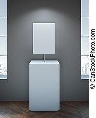 interpretazione, podium., vuoto, tabellone, bianco, 3d