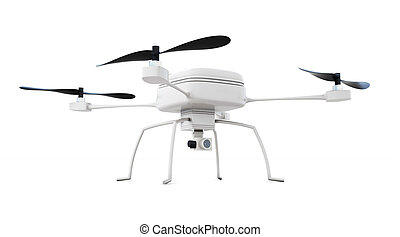 interpretazione, quadrocopter, isolato, fondo., bianco, 3d
