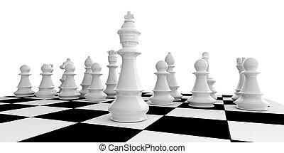 interpretazione, scacchiera, set, scacchi, 3d