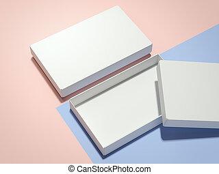 interpretazione, scatole, bianco, due, 3d