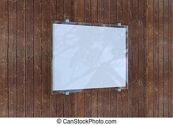 interpretazione, segno bianco, 3d, wall.