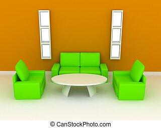 interpretazione, sofa., stanza, 3d