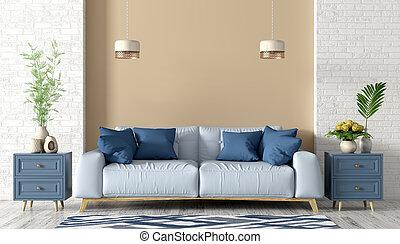 interpretazione, stanza, divano, vivente, interno, blu, 3d