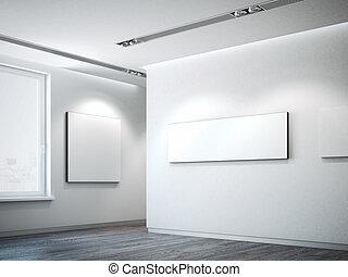 interpretazione, tela, 3d, bianco, wall.