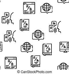 Interpreter Translator Seamless Pattern Vector