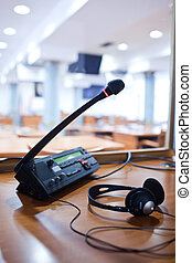 interpreting - Microphone and switchboard in an simultaneous...