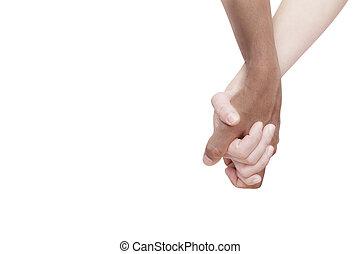 interracial カップル, 手を持つ
