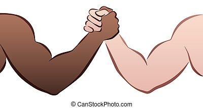 interracial, レスリング, 腕