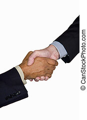 interracial, 握手, ビジネス