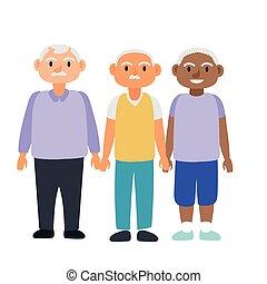 interracial, 特徴, 古い, 男性, グループ, avatars