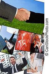 Interracial Business Men & Women Working