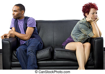 Interracial Couple Fighting - young black male and white...