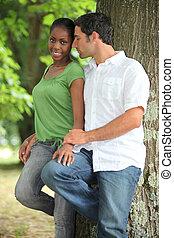 interracial coupler, park.