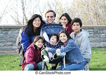 interracial familie, van, zeven