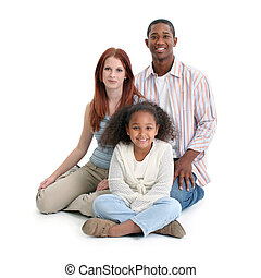 Interracial Family - Mom, dad, daughter. Happy interracial...