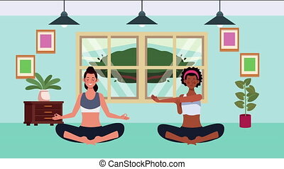 interracial girls practicing yoga in home for covid19 prevention method ,4k video animation