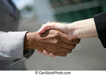interracial, hand-shake, negócio