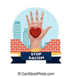 interracial hand with heart stop racism campaign