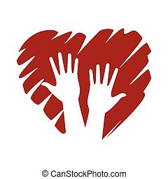 interracial hands human with heart