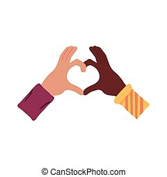 interracial hands with heart flat style icon