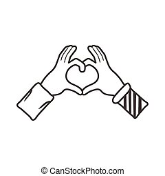 interracial hands with heart line style icon