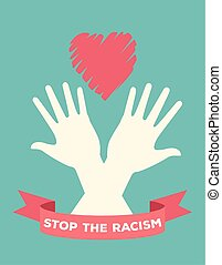 interracial hands with heart stop racism campaign