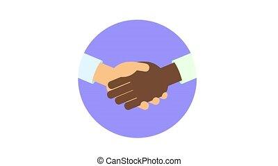 Interracial handshake in the circle. Join hands, teamwork,...