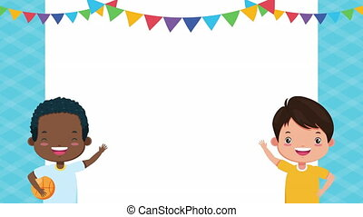 interracial little boys comic characters ,4k video animation