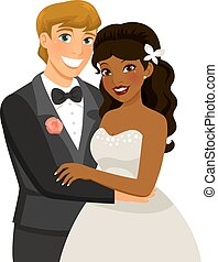 interracial marriage - mixed-race couple getting married