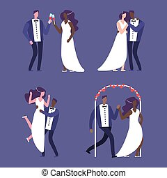 Interracial marriage, wedding couples vector illustration characters