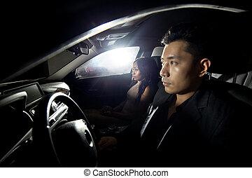 interracial, namorando, dirigindo, car, par
